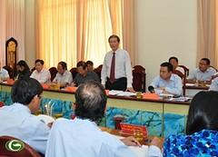 Trưởng Ban Tuyên giáo Trung ương Đinh Thế Huynh làm việc với tập thể Ban Thường vụ Tỉnh ủy Quảng Nam