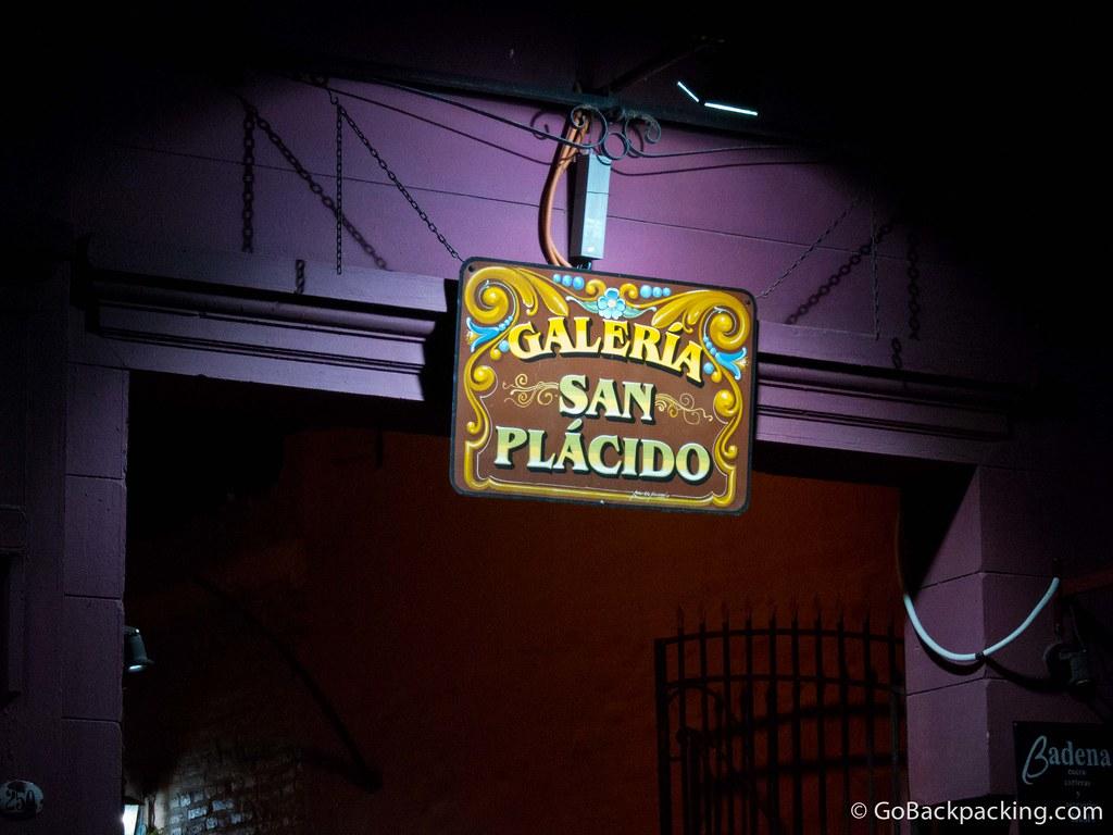 Entrance to Galeria San Placido