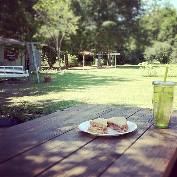 Cleaned the yard all morning, now time for lunch at the picnic table.
