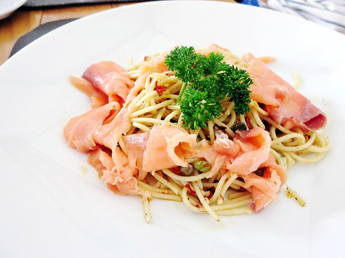 Smoke Salmon Spaghetti at Al Hamra Restaurant