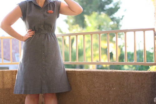 gray wool dress.