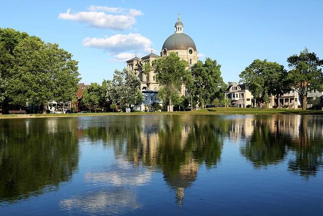 St Josaphat Basilica over Kosciuszko Park pond
