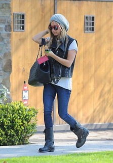 Ashley Tisdale Leather Vest Celebrity Style Women's Fashion