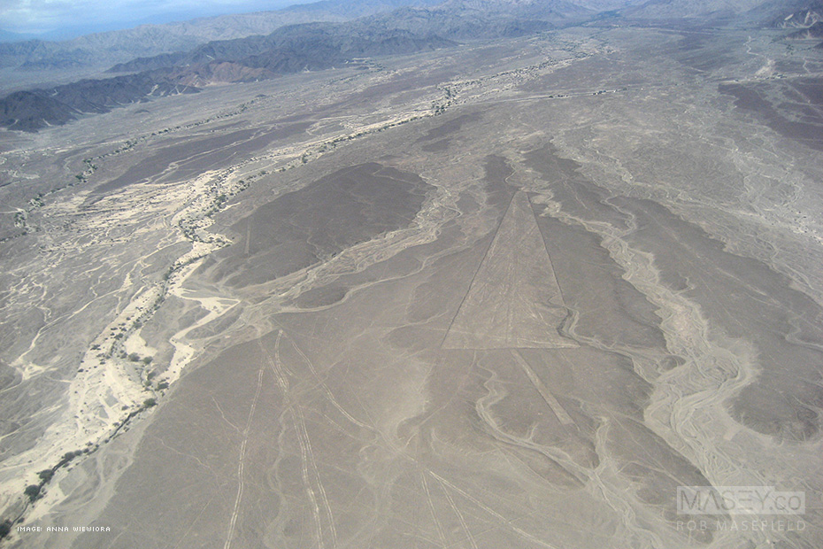The first of the mysterious 'Nazca Lines' formations as seen from the air.