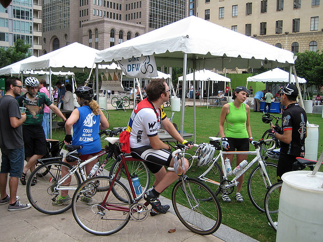 Hanging out at the BikeDFW Tent