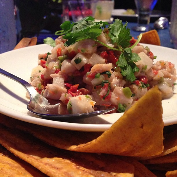 Insane ceviche & plantain chips. #latergram #okchefsrelief