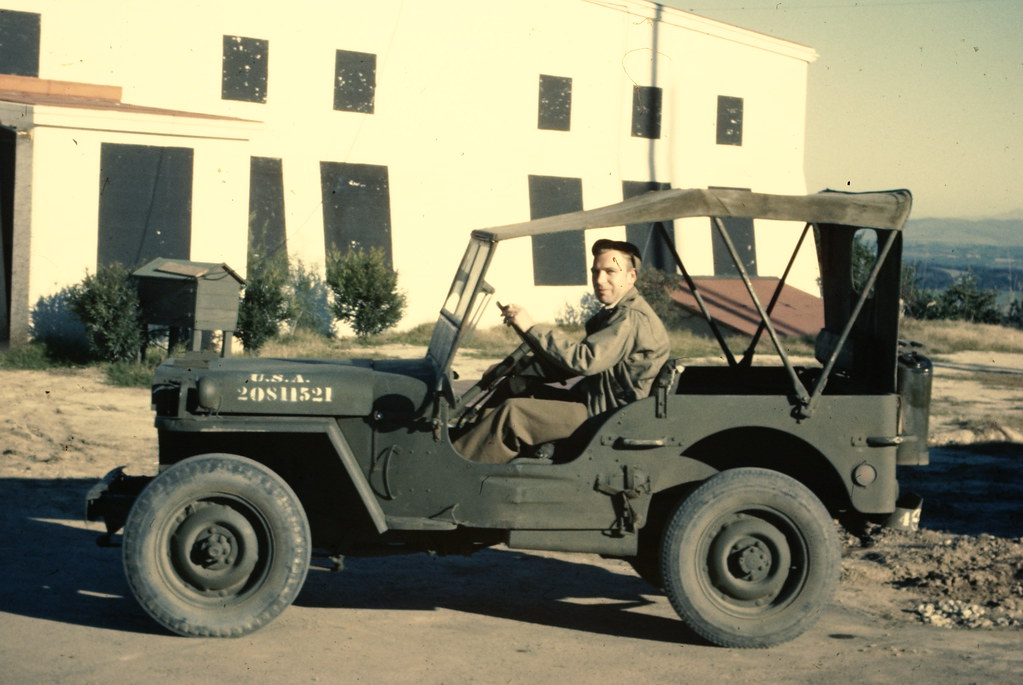 Jeep at Operations Block - LaJolla California - 1946 410th AAFBU - Squadron D - 1946 Slide