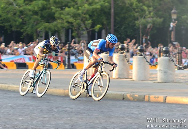 Scottish cyclist David Millar tried to make a breakaway from the peloton