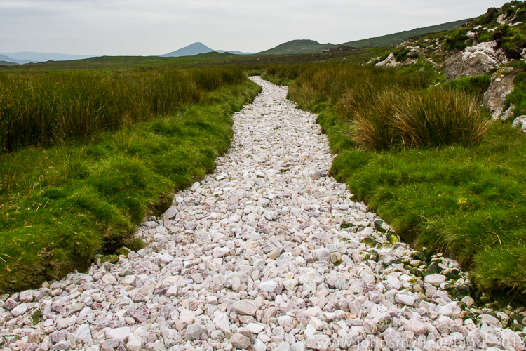 Dried riverbed of quartzite in Connemara