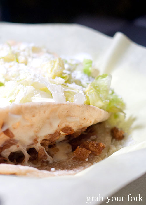 chicharron pork crackling quesadilla at el flamin taco truck in little korea, los angeles