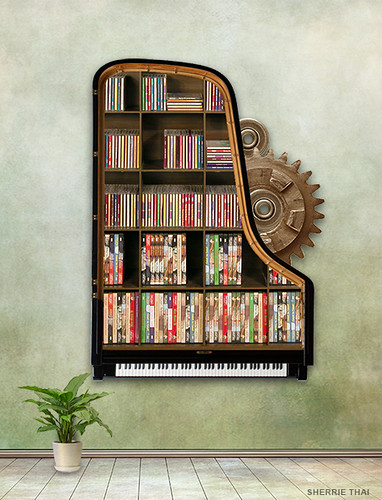 Steampunk Piano Bookshelf