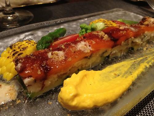 穴子と夏野菜のミルフィーユ、フルーツ人参のピュレ@レ マリアージュ ドゥ ガク