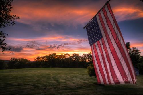 sunset nj americanflag