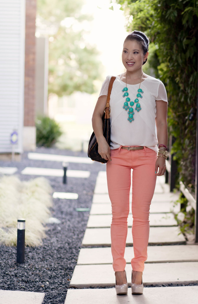 white chiffon top, coral salmon jeans, nude pumps, turquoise bubble necklace, louis vuitton galliera