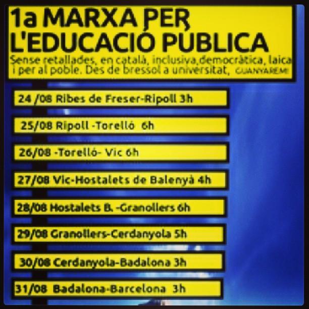 1a marxa per l'educació pública de #Ribes de Freser a #Barcelona del 24 al 31 d'agost #laica #català #retallades #igerscatalunya #igerscatalonia #catalunya #viacatalana #cataloniaexperience #catalunyaexperience #ensenyament #rigau
