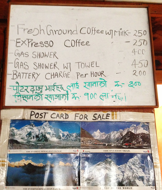 price list at Tengboche teahouse