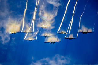 """Reversed version photo: """"Russian Knights"""" and """"Swifts"""" in acid colors :)"""