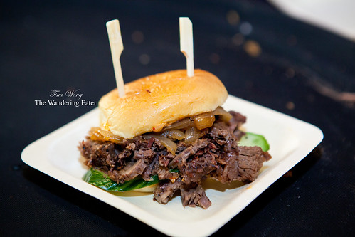 Belted Cow BBQ (Vermont) - Wagyu brisket slider with hibachi onions and kimchi mayonnaise