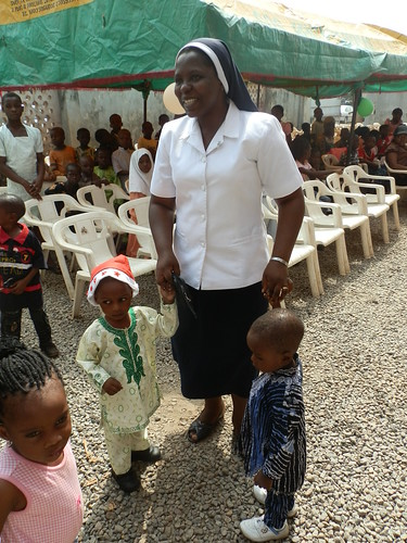 Christie Kure SSL at the Christmas party that they organised for the children of the Orogun community