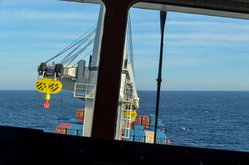 Cargo ship rolling in the Bay of Biscay - Ship bridge view