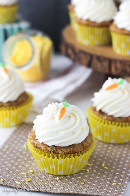 Best Ever Carrot Cake Cupcakes with whipped cream cheese frosting