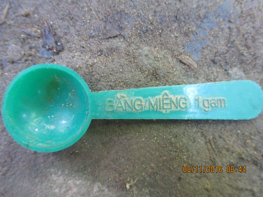 Tôi sử dụng muỗng 1gam để đo lường các thuốc dạng bột hoặc hạt.