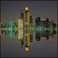 Abu Dhabi skyline reflection