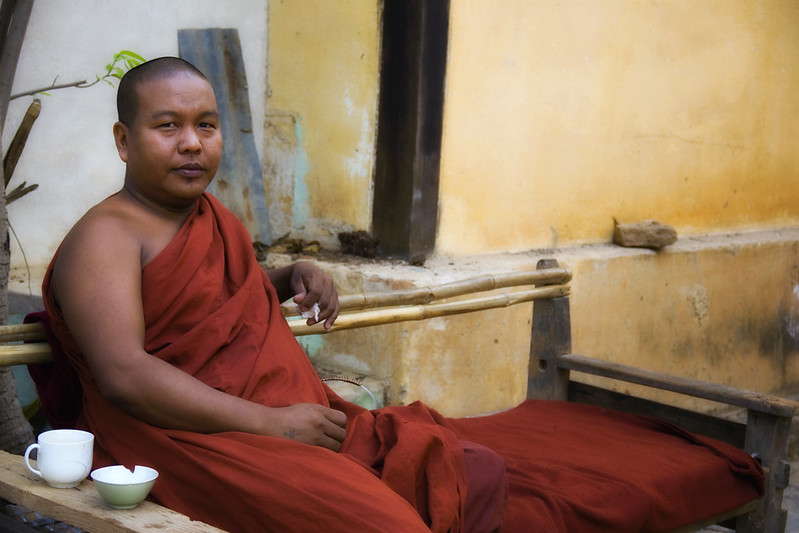 A Burmese Monk & A Cup Of Tea