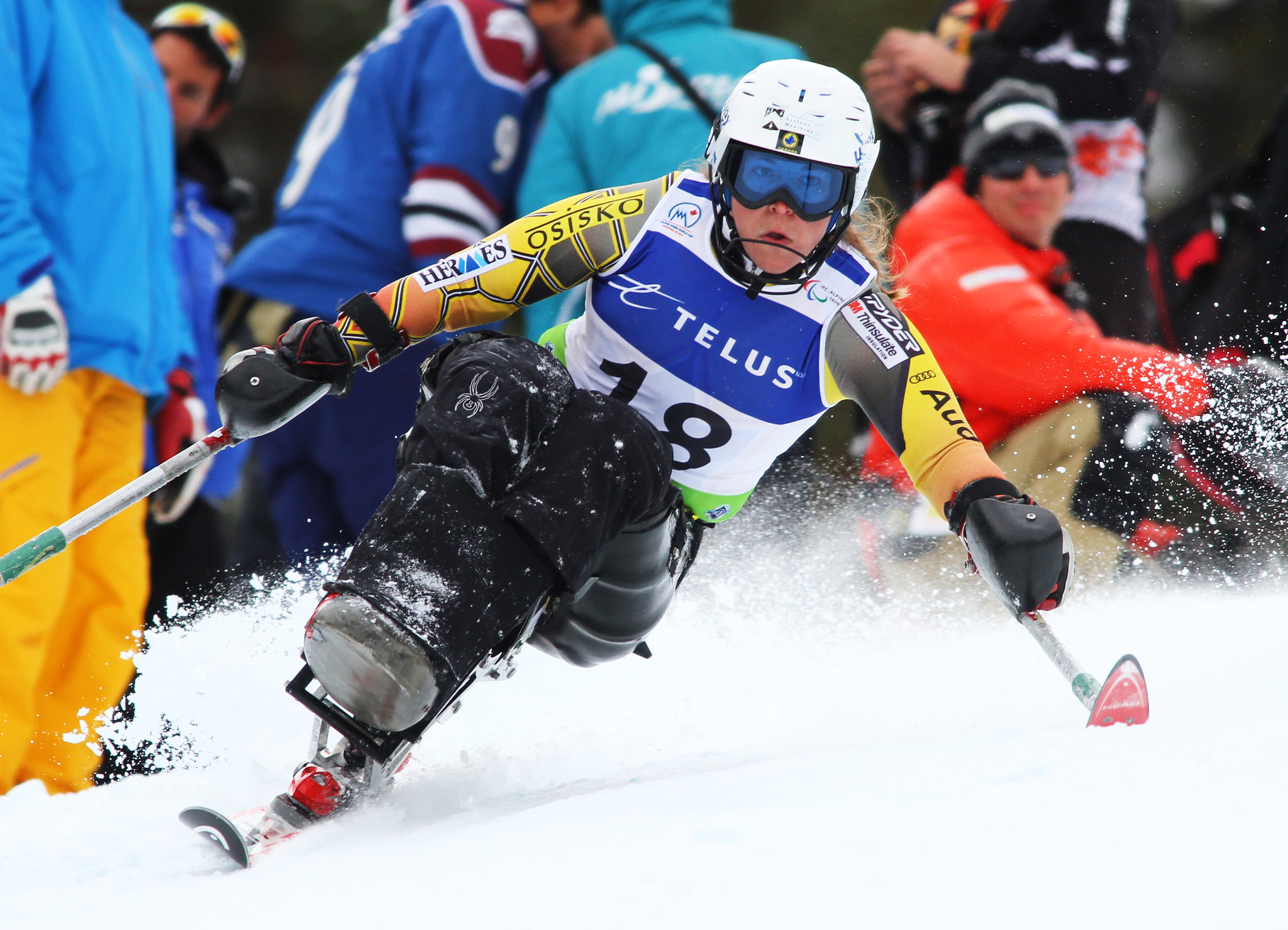 Kimberly Joines in an IPC World Cup slalom in Panorama, B.C.