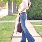 major  flare bell bottom jeans -    a white t