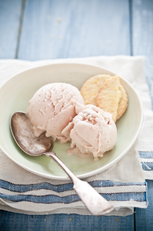 Roasted Peach Lavender Ice Cream & Lemon Salt Shortbread Cookies