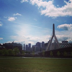 Skyline from the new pedestrian bridge #onthebiketrail #boston #igersboston