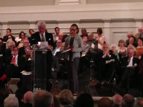 Lydia Davis receiving the Award of Merit