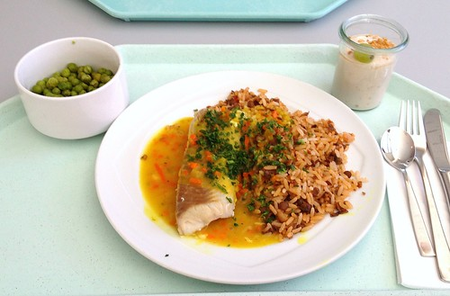 Orangenpochierter Seelachs mit Linsenreis / Poached coalfish with lentil rice