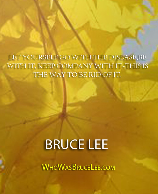 """Let yourself go with the disease, be with it, keep company with it. This is the way to get rid of it."" - Bruce Lee"