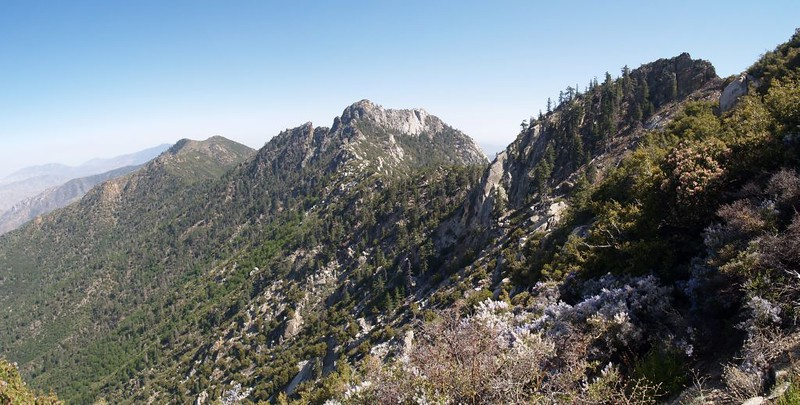 Climbing the south ridge of South Peak - Antsell Rock (center) and Apache Peak (left)