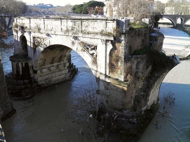 Pons Aemilius, the oldest Roman bridge in Rome, Field of Mars (Campus Martius)