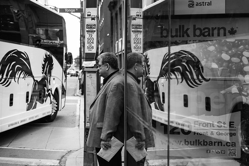 Reflecting with the King car and the big bus turn - #159/365 by PJMixer