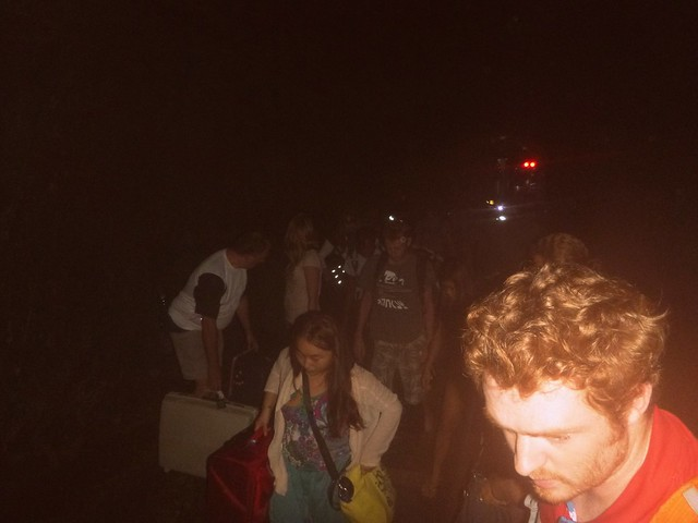 Hiking through a dark tunnel after our train derailed en route to Chiang Mai.