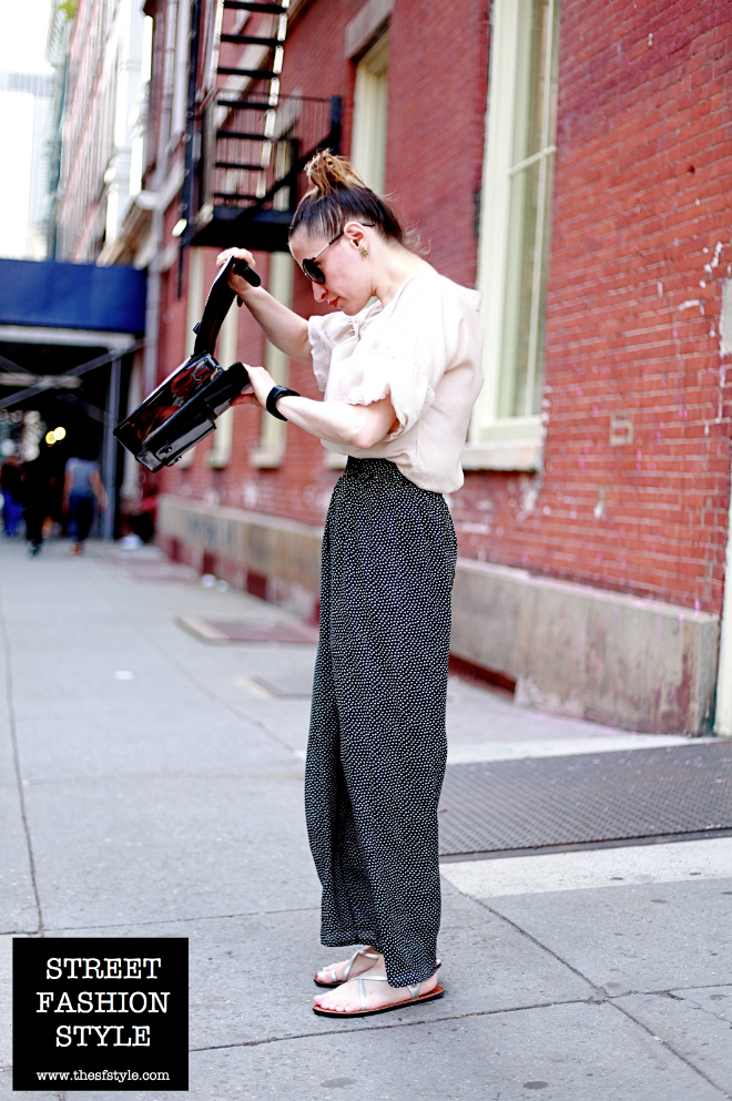 palazzo pants, patent leather bag, new york fashion blog, street fashion style, streetstyle,