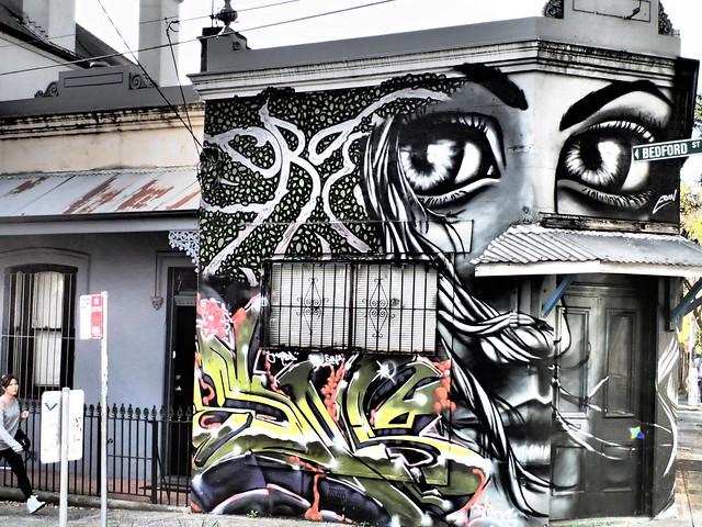Eyes on Passersby - Street art in Newtown, Sydney