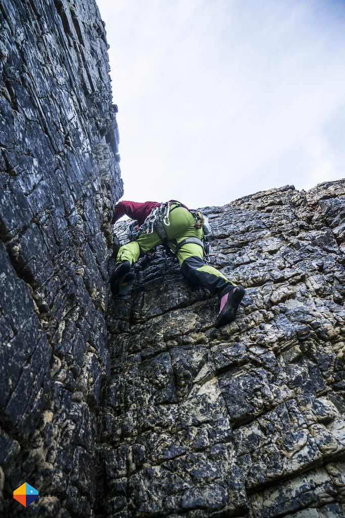 Iain down climbing from Berg Stack