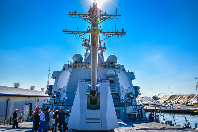 US Navy USS Jason Dunham (DDG-109) Destroyer at Maryland Fleet Week and Air Show at Fort McHenry Baltimore MD