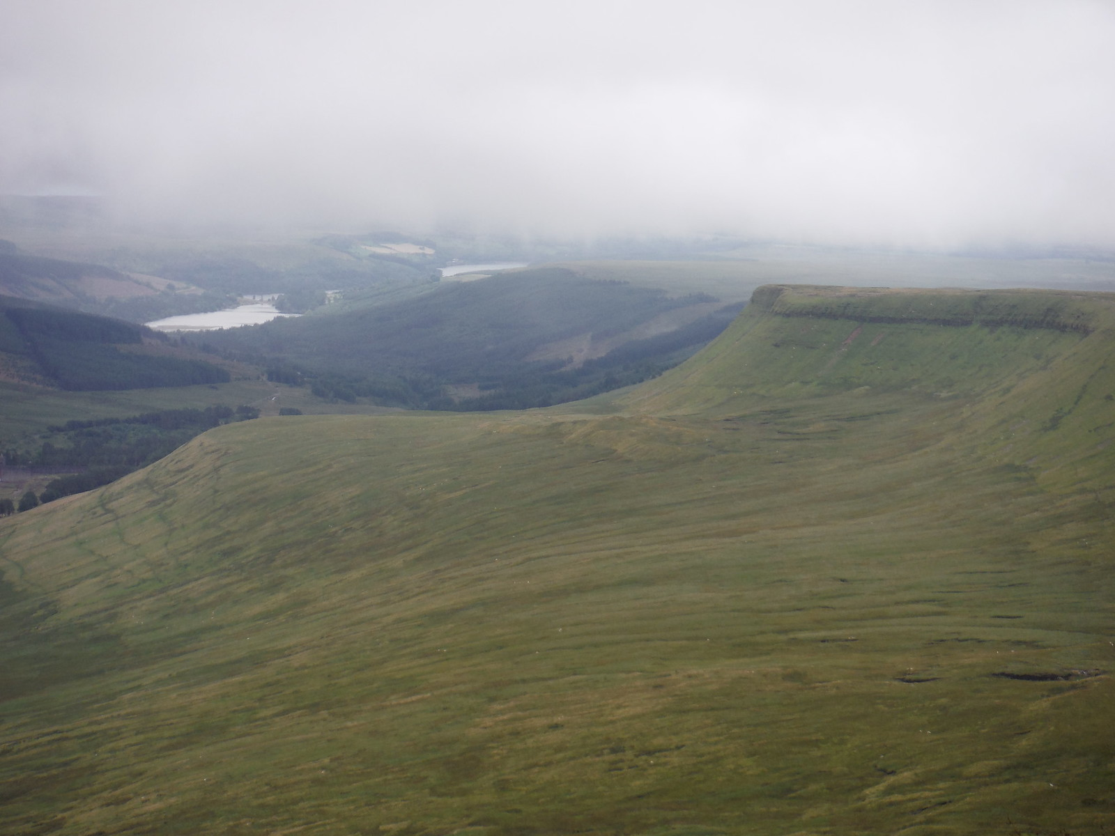 Pentwyn and Ponsticill Reservoirs, from Pen y Fan SWC Walk 278 Breacon Beacons Horseshoe - Bannau Brycheiniog