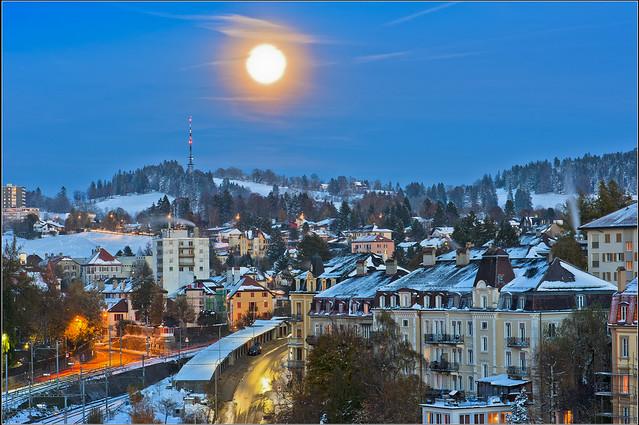 The Moon is rising on La Chaux-de-Fonds. October 29,2012. No. n344a.
