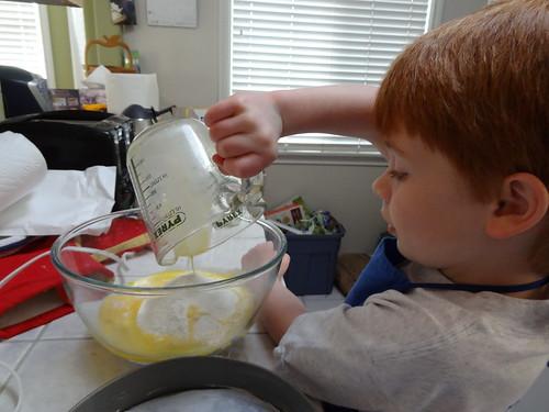 Henry Helps Make Birthday Cake