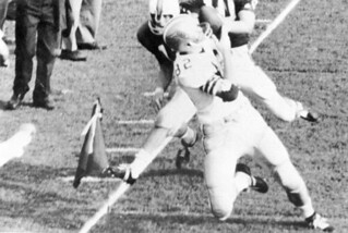 Lane Fenner catching a pass in the end zone during the University of Florida - Florida State University football game: Tallahassee, Florida