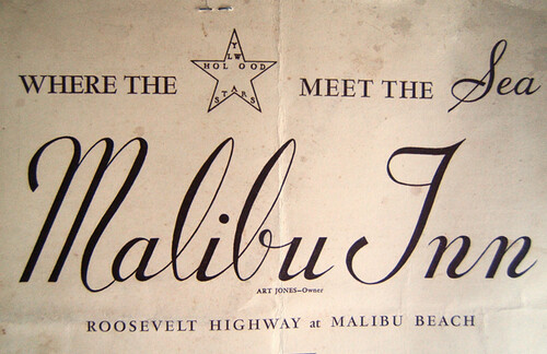 malibu inn menu slogan where the stars meet the sea maybe circa 1930s