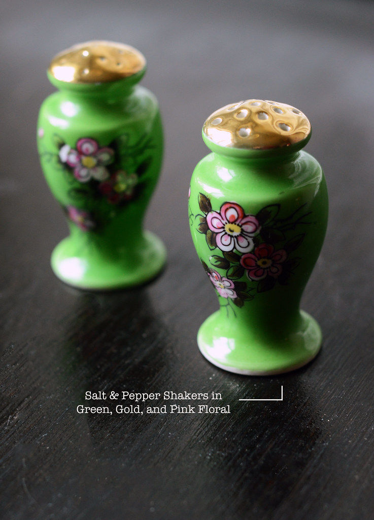 Vintage Salt & Pepper Shakers in Green, Gold, and Pink Floral