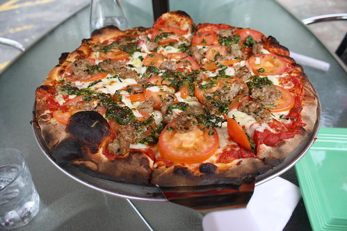 Sausage pesto pizza from Wild Tomato